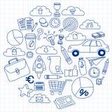 Vectorreeks krabbel bedrijfspictogrammen Stock Afbeeldingen