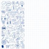 Vectorreeks krabbel bedrijfspictogrammen Stock Foto
