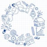 Vectorreeks krabbel bedrijfspictogrammen Royalty-vrije Stock Afbeeldingen