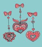 Vectorreeks krabbel hand-drawn harten voor de dag van Valentine Stock Afbeeldingen