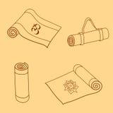 Vectorreeks krabbels van de yogamat Royalty-vrije Stock Afbeeldingen