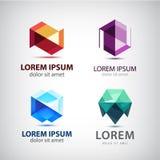 Vectorreeks kristal 3d emblemen, pictogrammen, tekens Stock Foto's