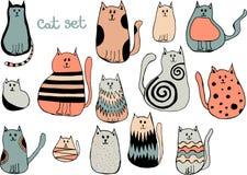 Vectorreeks leuke beeldverhaalkatten Inzameling van krabbelkatjes vector illustratie