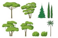 Vectorreeks leuke die beeldverhaalbomen op witte achtergrond wordt geïsoleerd stock illustratie