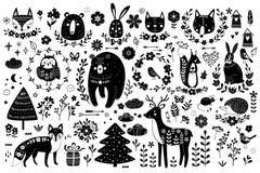 Vectorreeks leuke dieren: vos, beer, konijn, eekhoorn, wolf, egel, uil, herten, kat, muis, vogels Inzameling van royalty-vrije illustratie