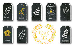 Vectorreeks leuke giftmarkeringen met bloem, hart, installaties, theeblad stock illustratie