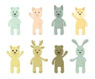 Vectorreeks leuke stuk speelgoed dieren vector illustratie
