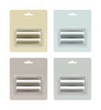 Vectorreeks Lichte Alkalische die aa Batterijen van Gray Blue Yellow Brown Glossy in Blaar op Witte Achtergrond wordt ingepakt Royalty-vrije Stock Fotografie