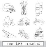 Vectorreeks line spa pictogrammen schets Royalty-vrije Stock Afbeeldingen