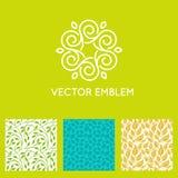 Vectorreeks malplaatjes van het embleemontwerp, naadloze patronen vector illustratie
