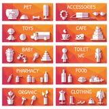 Vectorreeks marktsignages in vlakke stijl Stock Foto's