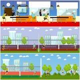 Vectorreeks mensen die tennis, pingpong en badminton spelen Royalty-vrije Stock Afbeelding
