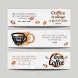 Vectorreeks moderne banners met koffieachtergronden Royalty-vrije Stock Foto