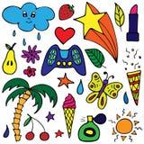 Vectorreeks mooie hand-drawn stickers stock illustratie