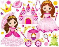 Vectorreeks Mooie Prinsessen en Fairytale-Elementen vector illustratie