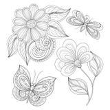 Vectorreeks Mooie Zwart-wit Bloemenontwerpelementen met Insecten stock illustratie