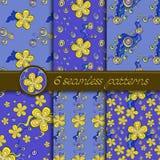 Vectorreeks naadloze patronen met bloemenelementen Stock Fotografie