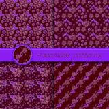 Vectorreeks naadloze patronen met bloemenelementen Royalty-vrije Stock Afbeeldingen