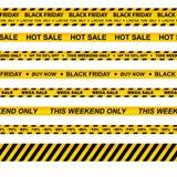 Vectorreeks naadloze voorzichtigheidsbanden voor zwarte vrijdag stock illustratie