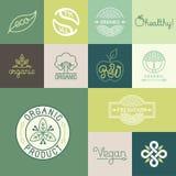 Vectorreeks natuurlijke, organische, veganistkentekens vector illustratie