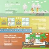 Vectorreeks olympische sporten vlakke horizontale banners vector illustratie