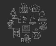 Vectorreeks Onderwijspictogrammen Royalty-vrije Stock Afbeelding