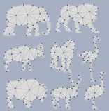 Vectorreeks origami dierlijke silhouetten Royalty-vrije Stock Afbeelding
