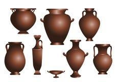 Vectorreeks oude amphorae stock illustratie