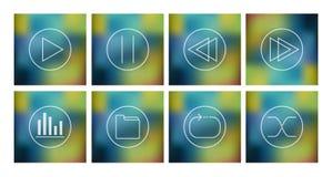 Vectorreeks pictogrammen voor muziekspeler Stock Afbeelding