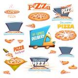 Vectorreeks Pizzapictogrammen, etiketten, tekens, symbolen Royalty-vrije Stock Foto