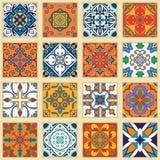 Vectorreeks Portugese tegels Inzameling van gekleurde patronen voor ontwerp en manier stock illustratie
