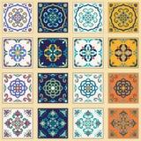 Vectorreeks Portugese tegels Mooie gekleurde patronen voor ontwerp en manier stock illustratie