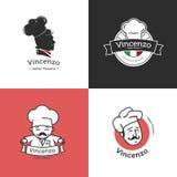 Vectorreeks retro klassieke kentekens voor pizza Royalty-vrije Stock Foto