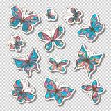 Vectorreeks retro kleverige etiketten met vlinders Stock Afbeelding