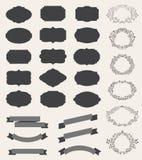 Vectorreeks retro uitstekende etiketten, lege kaders royalty-vrije illustratie