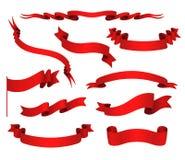 Vectorreeks rode linten Royalty-vrije Stock Foto