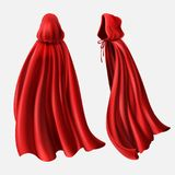 Vectorreeks rode mantels, stromende zijdestoffen stock illustratie