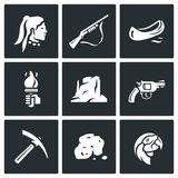 Vectorreeks Roodhuidpictogrammen Rode mens, Jachtgeweer, Kano, Toorts, Canion, Revolver, Mijnbouw, Goud, Papegaai Royalty-vrije Stock Afbeeldingen