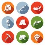 Vectorreeks Roodhuidpictogrammen Rode mens, Jachtgeweer, Kano, Toorts, Canion, Revolver, Mijnbouw, Goud, Papegaai Royalty-vrije Stock Foto