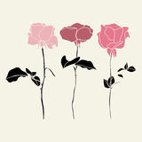 Vectorreeks roze rozen illustraton royalty-vrije illustratie