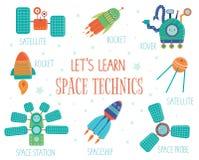 Vectorreeks ruimtetechnieken voor kinderen stock illustratie