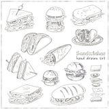 Vectorreeks sandwiches vector illustratie