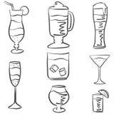Vectorreeks Schetscocktails en Alcoholdranken Stock Foto