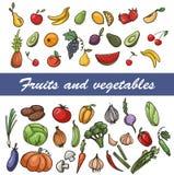 Vectorreeks schetsfruit en groenten Royalty-vrije Stock Foto's