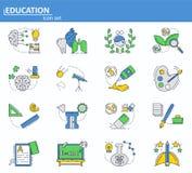 Vectorreeks School en universiteitsonderwijspictogrammen in dunne lijnstijl Website UI en mobiel webapp pictogram Overzichtsontwe stock illustratie