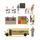 Vectorreeks schoolkarakters, ontwerpelementen in vlakke stijl vector illustratie