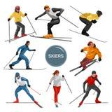 Vectorreeks skiërs Mensen het ski?en ontwerpelementen op witte achtergrond worden geïsoleerd die De silhouetten van de de winters Stock Afbeelding