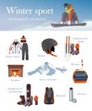Vectorreeks Ski en Snowboard-materiaalpictogrammen Stock Afbeelding