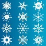 Vectorreeks sneeuwvlokken Stock Afbeeldingen