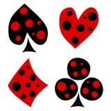 Vectorreeks speelkaartsymbolen Hand getrokken decoratieve zwarte en rode die pictogrammen met punten op de achtergronden worden g Royalty-vrije Stock Afbeelding